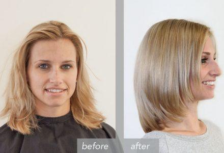 Vorher Nachher – Color warm blond highlights