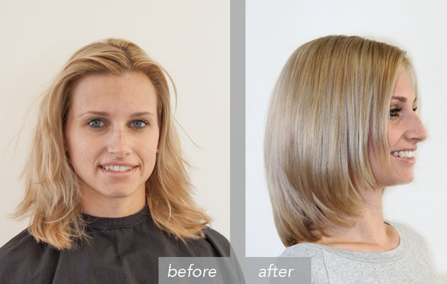 Vorher Nachher – Color warm blond highlights